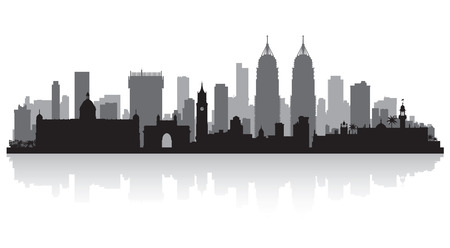 waterfront: Mumbai India city skyline vector silhouette illustration
