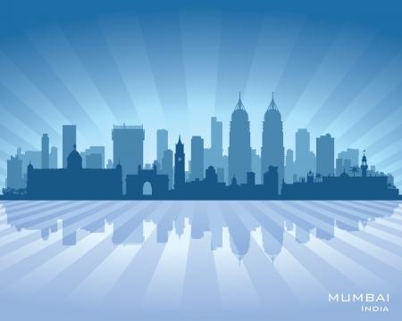 ムンバイ インド都市スカイライン ベクトル シルエット イラスト