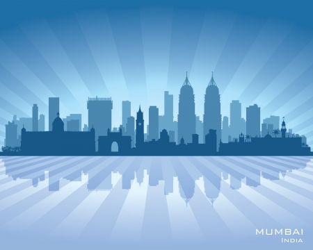 mumbai: Mumbai India city skyline vector silhouette illustration