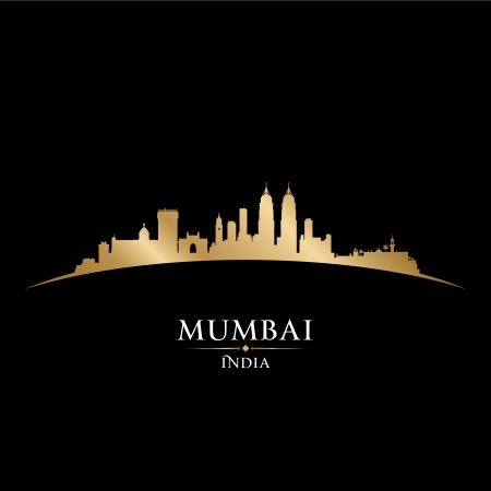 india city: Mumbai India skyline della citt� silhouette. Vector illustration