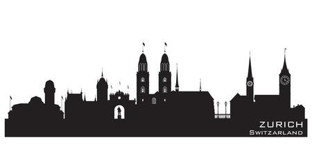 チューリッヒ スイス スカイライン詳細なベクトル シルエット  イラスト・ベクター素材
