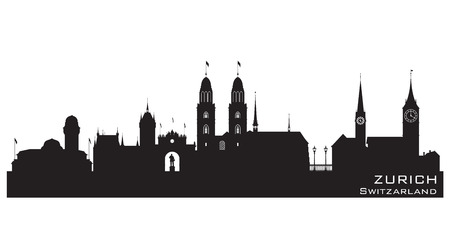 city panorama: Zurich Switzerland skyline Detailed vector silhouette