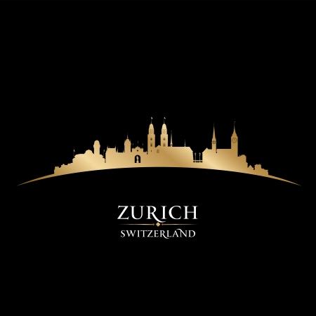 チューリッヒ スイス都市スカイライン シルエット。ベクトル イラスト  イラスト・ベクター素材