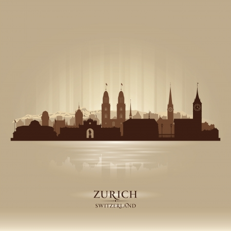 チューリッヒ スイス都市スカイライン ベクトル シルエット イラスト