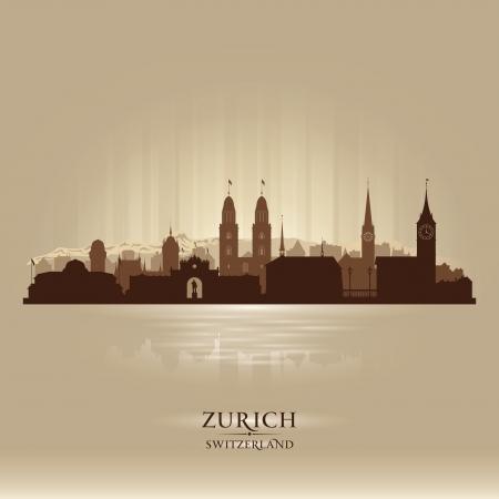 Zurich Schweiz Skyline der Stadt Vektor-Silhouette Illustration