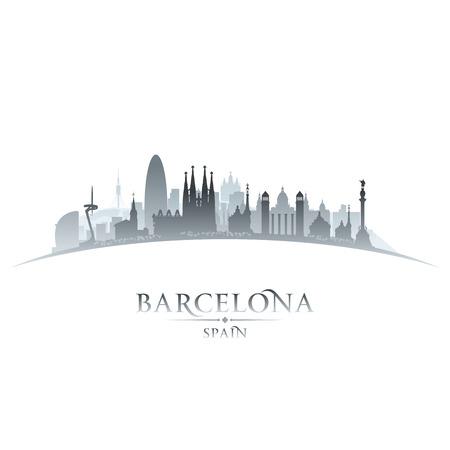 バルセロナ スペイン都市スカイライン シルエット。ベクトル イラスト  イラスト・ベクター素材
