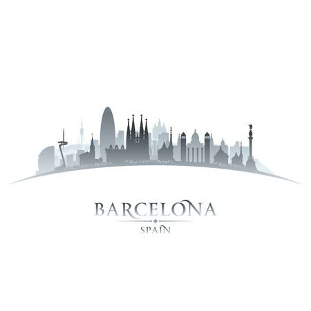barcelone: Barcelone Espagne toits de la ville silhouette. Vector illustration