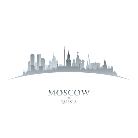 moscow: Moscow Russia city skyline silhouette. Vector illustration