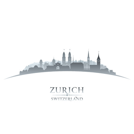 switzerland: Zurich Switzerland city skyline silhouette. Vector illustration Illustration