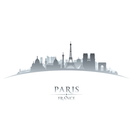 Paris France city skyline silhouette. Vector illustration