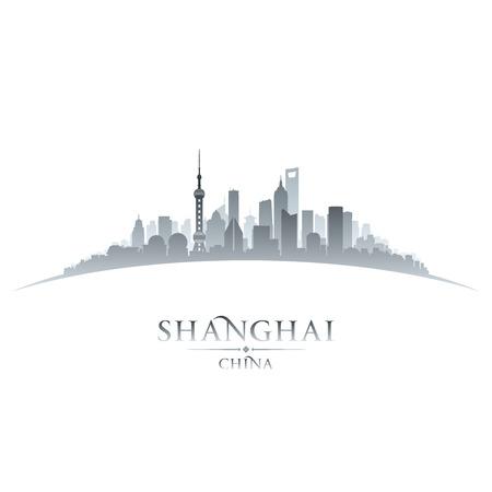 上海中国都市スカイライン シルエット。ベクトル イラスト