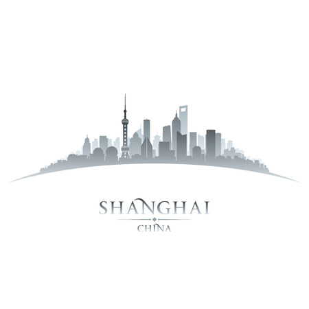 shanghai china: Shanghai China city skyline silhouette. Vector illustration