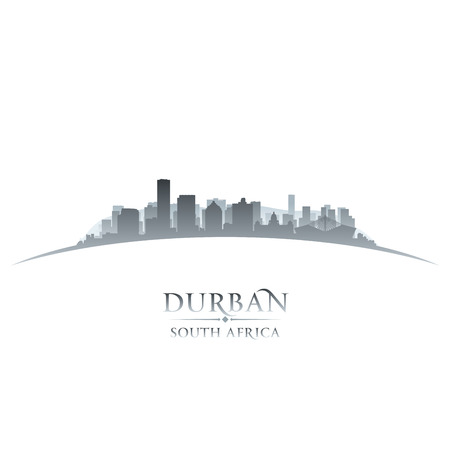 scraper: Durban South Africa city skyline silhouette. Vector illustration