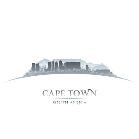 ケープタウン南アフリカ共和国の都市のスカイラインのシルエット。ベクトル イラスト