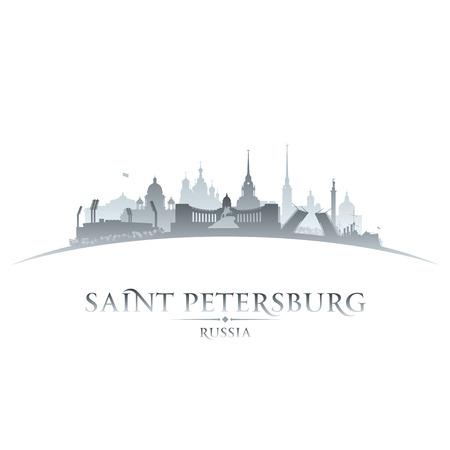 サンクトペテルブルクのロシア都市のスカイラインのシルエット。ベクトル イラスト