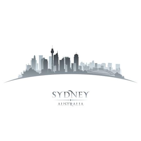 Австралия: Сидней Австралия Горизонты города силуэт. Векторная иллюстрация
