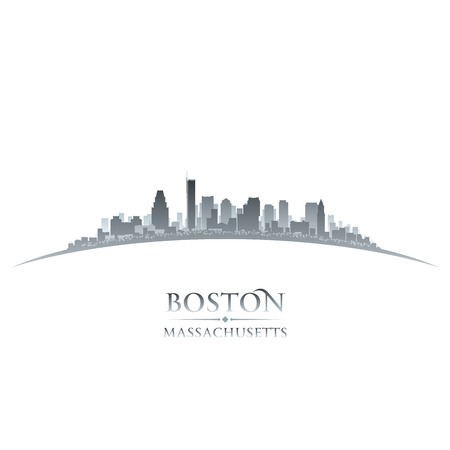 Boston Massachusetts city skyline silhouette. Vector illustration 向量圖像
