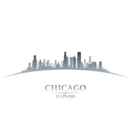 Chicago Illinois city skyline silhouette. Vector illustration