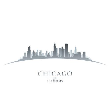 silhueta: Chicago Illinois silhueta horizonte da cidade. Ilustração do vetor