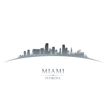 Miami Florida city skyline silhouette. Vector illustration Vector
