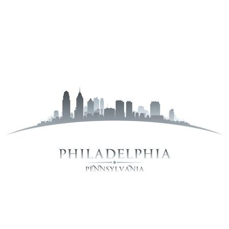ペンシルベニア州フィラデルフィア市のスカイラインのシルエット。ベクトル イラスト