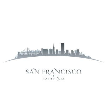 샌프란시스코: 샌프란시스코 캘리포니아 도시의 스카이 라인의 실루엣. 벡터 일러스트 레이 션 일러스트
