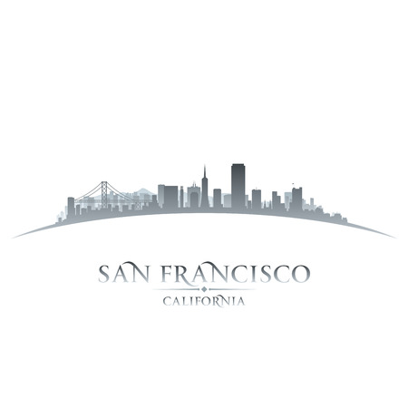 building backgrounds: San Francisco California city skyline silhouette. Vector illustration