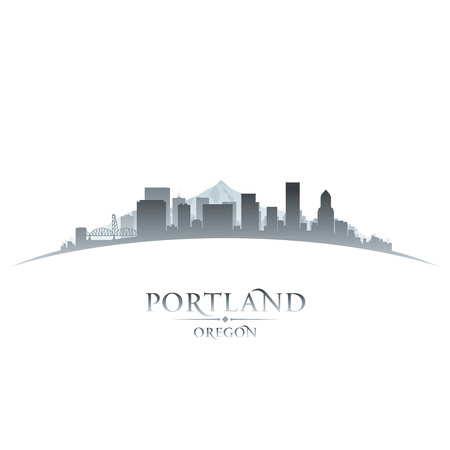 Portland Oregon city skyline silhouette. Vector illustration Illustration