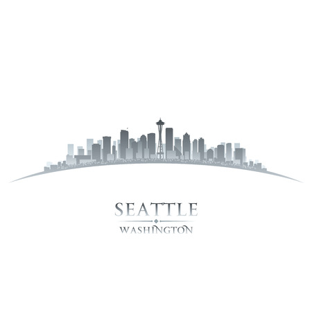 seattle: La ciudad de Seattle, Washington horizonte la silueta. Ilustraci�n vectorial