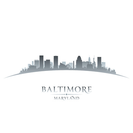 Baltimore Maryland city skyline silhouette. Vector illustration