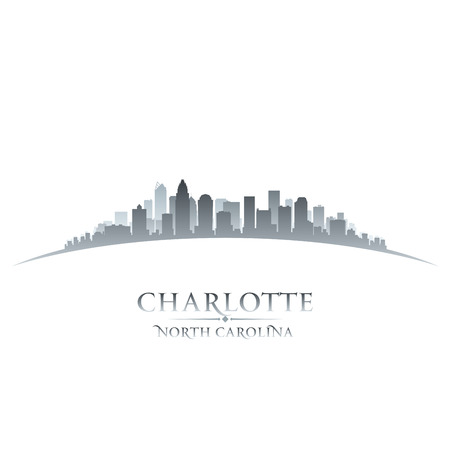 highrise: Charlotte North Carolina city skyline silhouette. Vector illustration