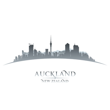 Auckland New Zealand city skyline silhouette. Vector illustration