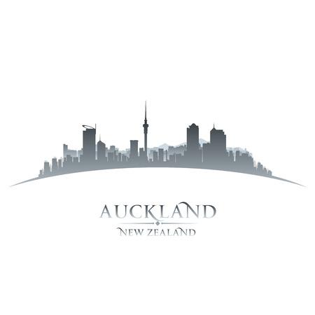 scraper: Auckland New Zealand city skyline silhouette. Vector illustration