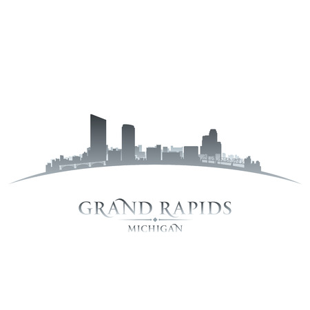 michigan: Grand Rapids Michigan city skyline silhouette. Vector illustration