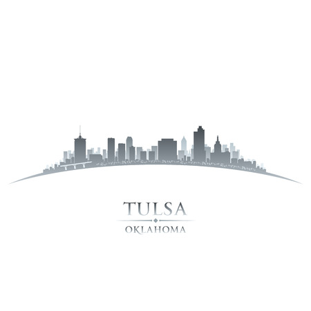 Tulsa Oklahoma city skyline silhouette. Vector illustration