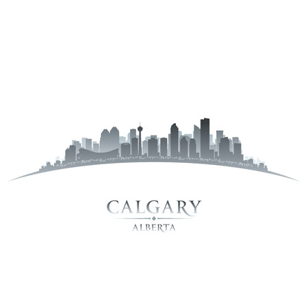 Calgary Alberta Canada city skyline silhouette Vector illustration