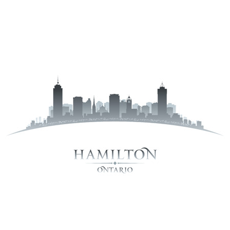 ontario: Hamilton Ontario Canada city skyline silhouette  Vector illustration Illustration