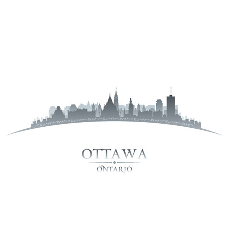 ottawa: Ottawa Ontario Canada city skyline silhouette  Vector illustration