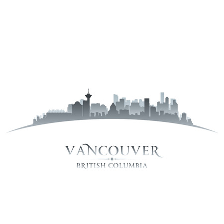 Vancouver British Columbia Canada city skyline silhouette  Vector illustration