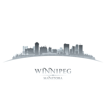 manitoba: Winnipeg Manitoba Canada city skyline silhouette  Vector illustration