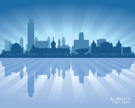 Albany New York city skyline vector silhouette illustration Vector