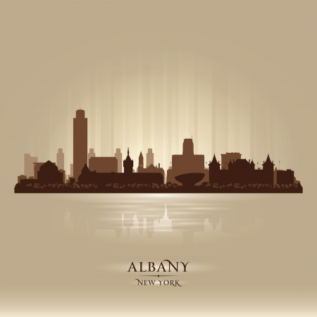 albany: Albany New York city skyline vector silhouette illustration Illustration