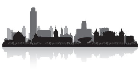 waterfront: Albany New York city skyline vector silhouette illustration Illustration