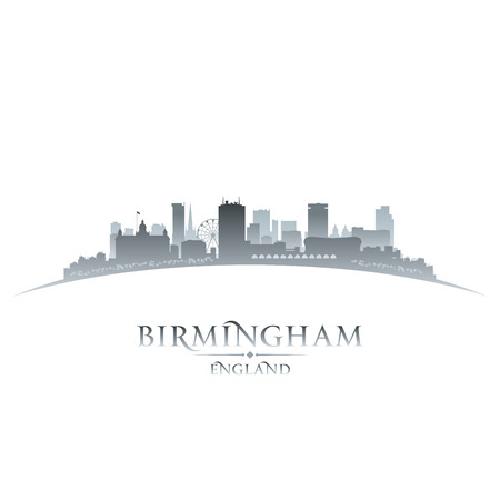 Birmingham England city skyline silhouette. Vector illustration Vector