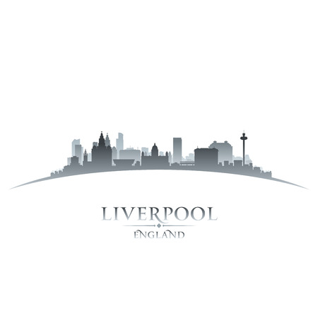 Liverpool England city skyline silhouette. Vector illustration