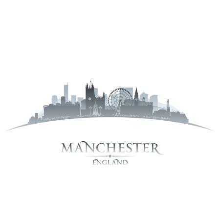 Manchester England city skyline silhouette. Vector illustration