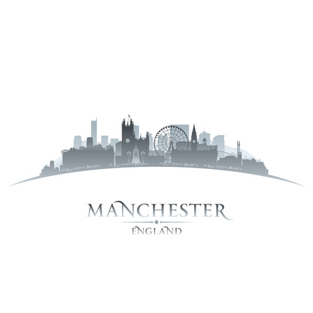 europe cities: Manchester England city skyline silhouette. Vector illustration
