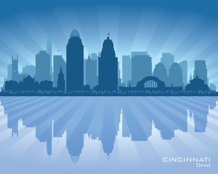 Cincinnati Ohio city skyline silhouette illustration Ilustracja