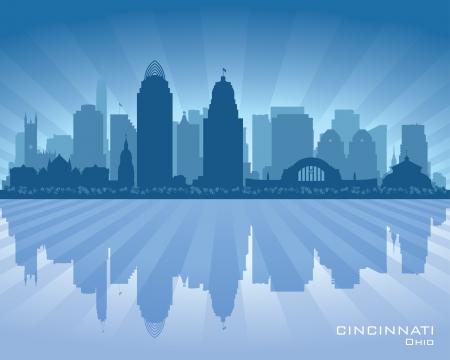 Cincinnati skyline silhouet illustratie Stock Illustratie