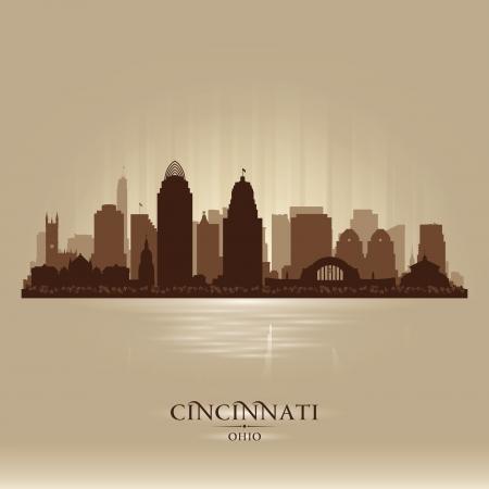 Cincinnati Ohio city skyline silhouette illustration 일러스트